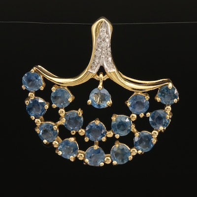 Sterling Cluster Fan Pendant with Sapphire and Zircon