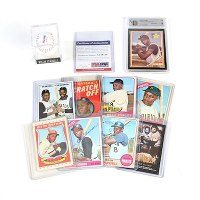 Willie Stargell Signed Baseball, Donn Clendenon Signed Card and Vintage Cards