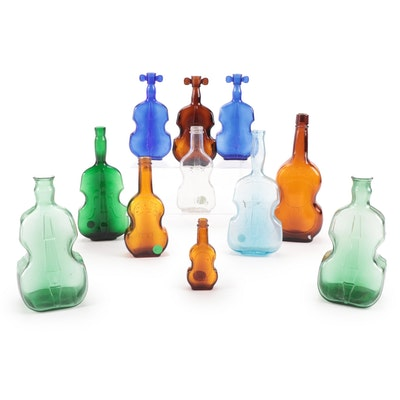 Amber, Cobalt, Green and Other Fiddle-Shaped Glass Bottles, 20th C.