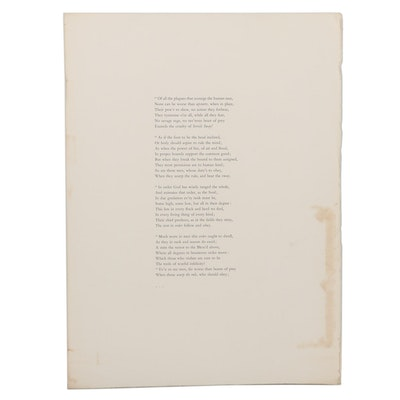 Double-Sided Lithograph Including John Trumbull Poem