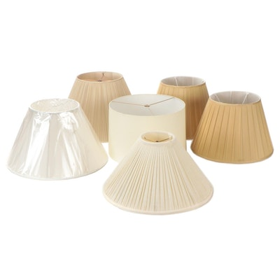 Cream, Tan and White Pleated and Barrel Fabric Lamp Shades