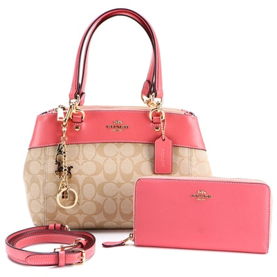 Coach Signature Mini Brooke Handbag in Coated Canvas and Leather with Wallet
