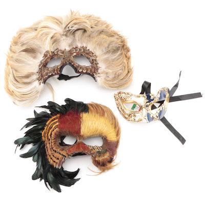 Hand-Painted Venezian Italian Mask with Feathered Masks