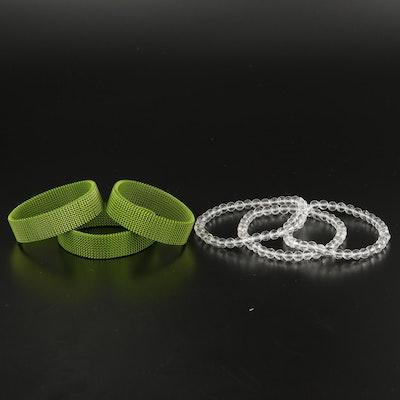 Mesh and Rock Crystal Quartz Expandable Bracelets
