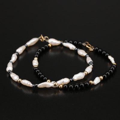 Pearl, Hematite and Glass Bracelets with 14K Clasps