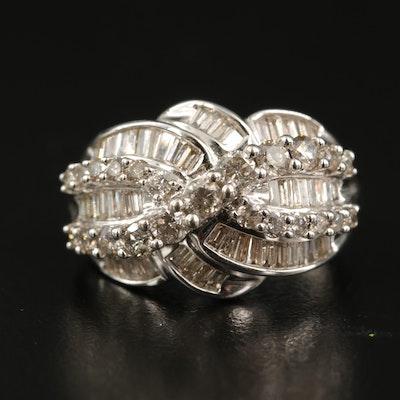 14K 1.98 CTW Diamond Crossover Ring