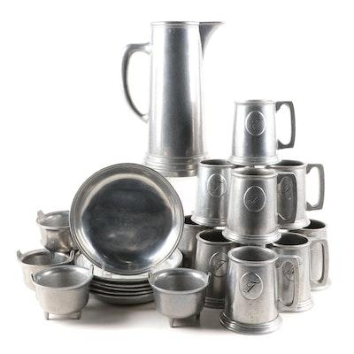"Wilton Armetale Monogrammed Tankards and ""Plough Tavern"" Dinnerware"