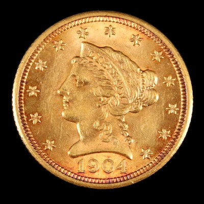 Low Mintage 1904 Liberty Head $2.50 Quarter Eagle Gold Coin