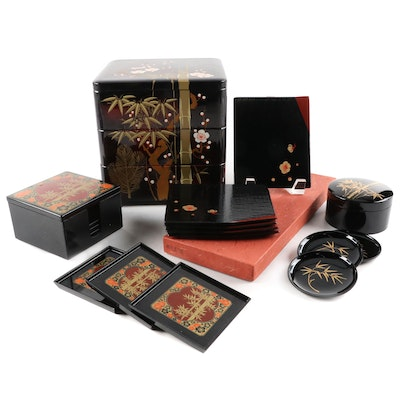 East Asian Three-Tier Lacquerware Food Serving Box, Coaster Sets and Trays