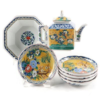 "Takahashi ""Kutani"" Hand Decorated Porcelain Teapot and Bowl Set"