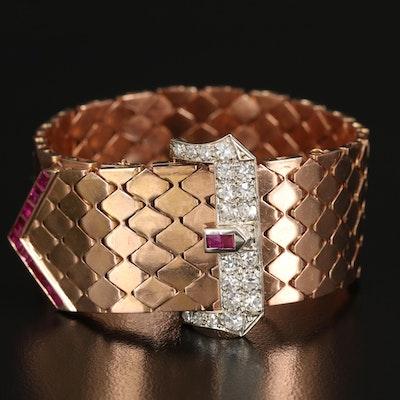 1930s 14K Rose Gold 1.08 CTW Diamond and Ruby Jarretière Bracelet