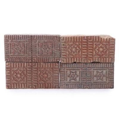 Ohio Made Six-Pointed Star and Compass Medallion Pattern Glazed Vitrified Bricks