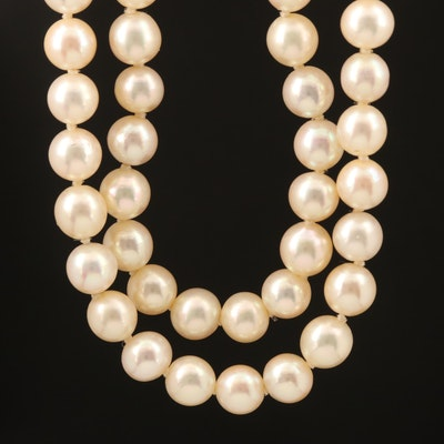 Double Strand Pearl Necklace with 10K Clasp