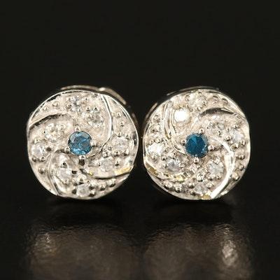 Sterling Diamond and Zircon Pinwheel Stud Earrings
