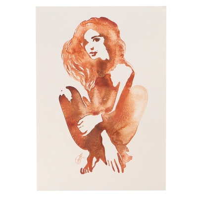 Alyona Glushchenko Watercolor Painting of Seated Woman, 2021