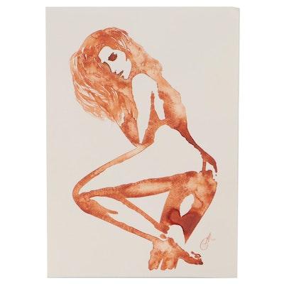 Alyone Glushchenko Watercolor Painting of Woman, 2021