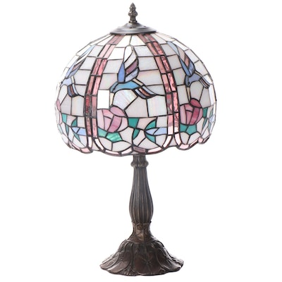 Slag Glass and Stained Glass and Pressed Metal Table Lamp, Late 20th C