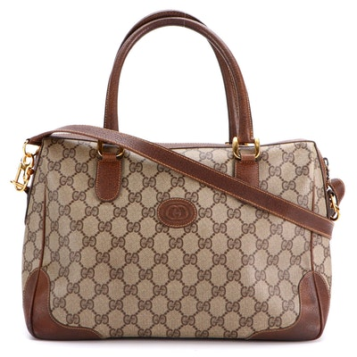 Gucci GG Supreme Canvas and Leather Two-Way Satchel
