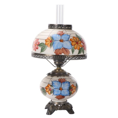 Hand-Painted Glass and Cast Metal Table Lamp