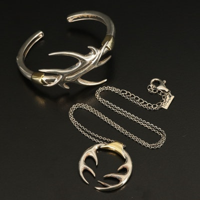 Elizabeth and James Sterling Antler Necklace and Hinged Cuff Set with Pouches