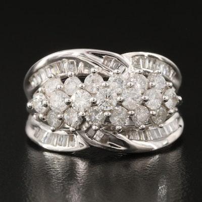 14K 1.55 CTW Diamond Cluster Ring