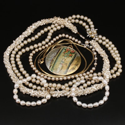 Pearl Necklace and Bracelet Collection Featuring Leona Fein Necklace
