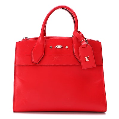 Louis Vuitton City Steamer PM Satchel in Red Calfskin Leather