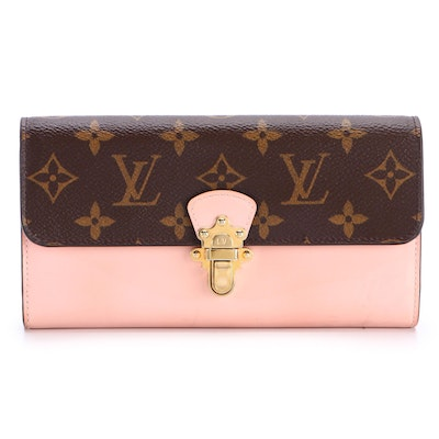 Louis Vuitton Cherrywood Wallet Monogram Canvas and Pink Patent Leather