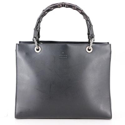 Gucci Bamboo Handbag in Black Leather