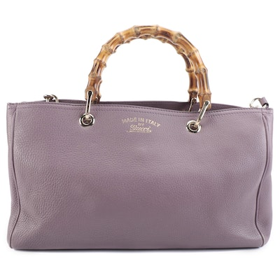 Gucci Shopper Tote in Pebbled Leather with Bamboo Handles and Detachable Strap