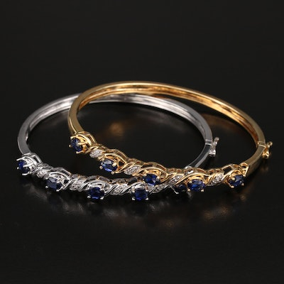 Sterling Sapphire and Diamond Hinged Bracelets