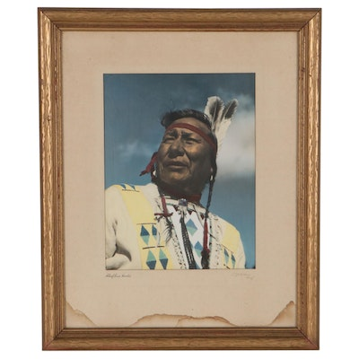 """William Gibbons Hand-Tinted Silver Gelatin """"Chief Enos Hunter,"""" Mid-20th Century"""