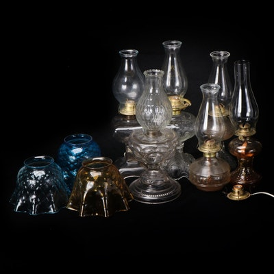 Pressed Glass Oil Lamps with Fluted Glass Shades and Chimneys, 19th and 20th C