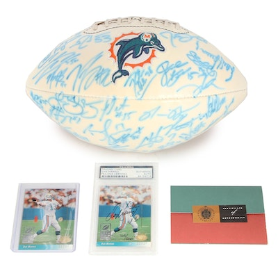 Miami Dolphins Team Signed Football with Dan Marino Signed Upper Deck Card, COAs