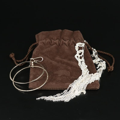 The Golden Bear Sterling Fringe Bib Necklace and Hoop Earrings with Pouch