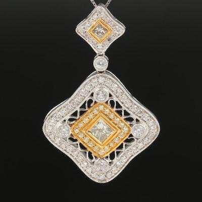 18K 1.73 CTW Diamond Openwork Pendant on 14K Box Chain Necklace