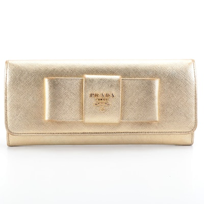 Prada Long Wallet in Metallic Gold Saffiano Leather with Box