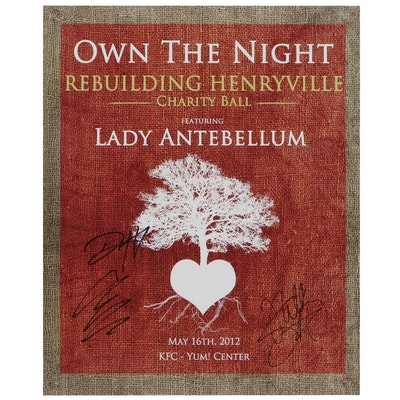 Signed Lady Antebellum Offset Lithograph Charity Ball Event Poster, 2012