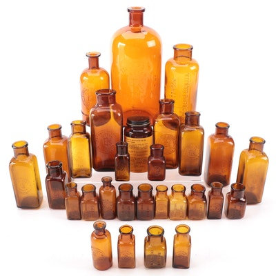 Eastman Kodak and Defender Photo Supply Photography Chemical Amber Glass Bottles