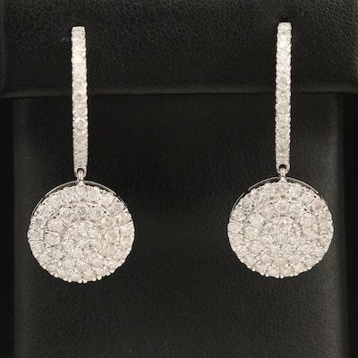 14K 3.25 CTW Diamond Cluster Drop Earrings