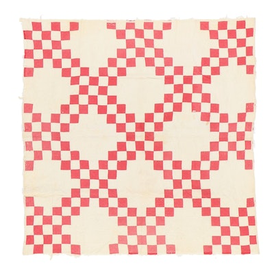 """Handmade """"Double Irish Chain"""" Pieced Quilt, Late 19th to Early 20th Century"""