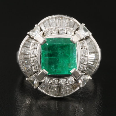 Platinum 2.71 CT Columbian Emerald and 1.64 CTW Diamond Ring with GIA Report
