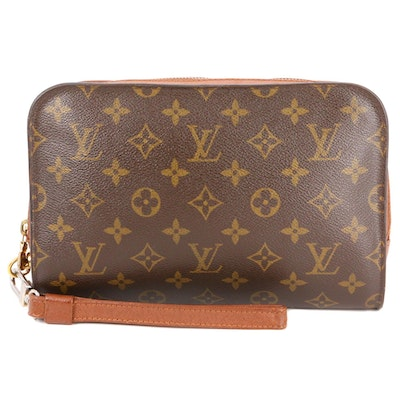 Louis Vuitton Pochette Orsay Clutch Wristlet in Monogram Canvas and Leather