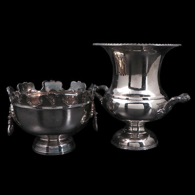 Mottahedeh Silver Plate Monteith Bowl with English Silver Mfg. Corp Wine Cooler