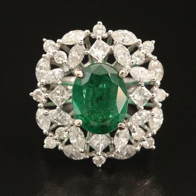 14K 3.19 CT Emerald and 2.65 CTW Diamond Openwork Ring