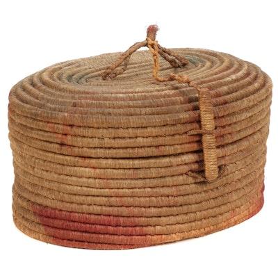 Handwoven Grass Lidded Coil Basket