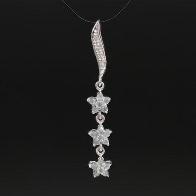 Sterling Alexandrite and Zircon Star Trio Pendant