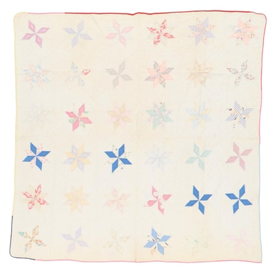 """Handmade """"Eastern Star"""" Pieced Quilt, Early 20th Century"""