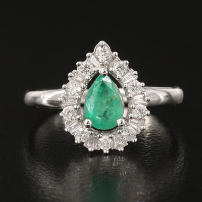 14K Emerald and 0.21 CTW  Diamond Halo Ring