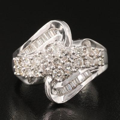 10K 1.00 CTW Diamond Bypass Ring
